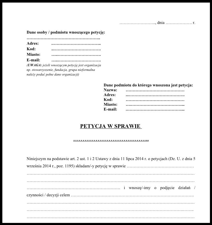 Jak składać petycje do Urzędu