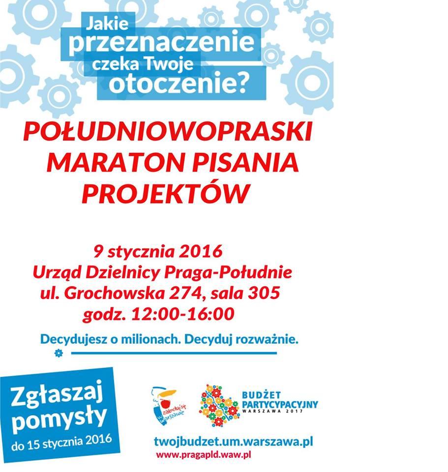 2016-01-09: Południowopraski Maraton Pisania Projektów do budżetu partycypacyjnego 2016/2017!