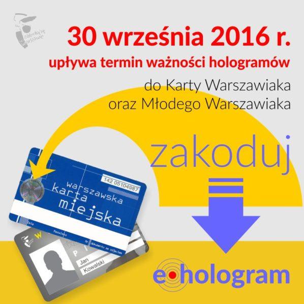 2016-09-30: papierowe hologramy na Kartach warszawiaka są wyłącznie do 30 września br.