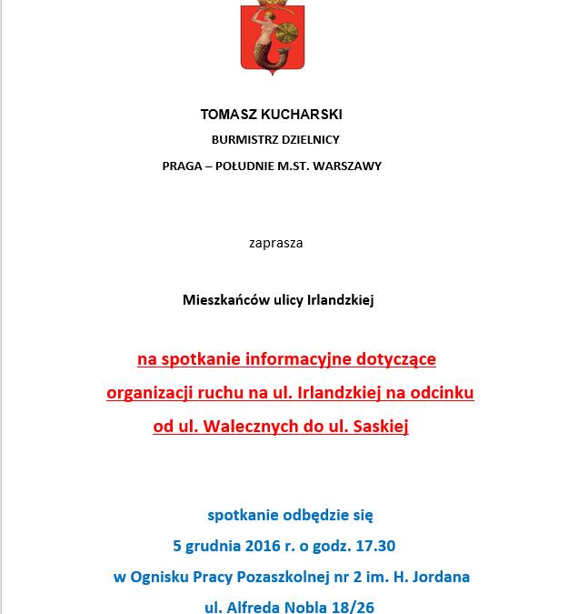 2016-12-05: spotkanie dla mieszkańcow ul. Irlandzkiej