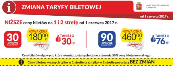 2017-06-01: zmiany w taryfie biletowej ZTM