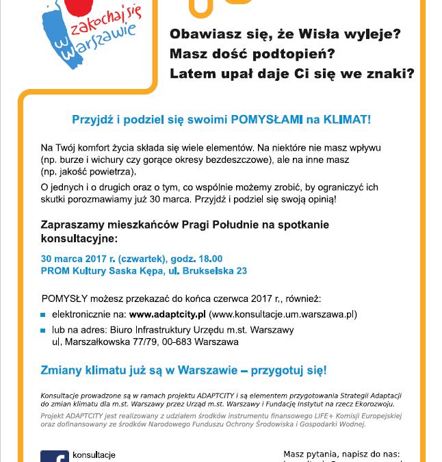 2017-03-30: Konsultacje społeczne Strategii adaptacji do zmian klimatu dla m.st. Warszawy