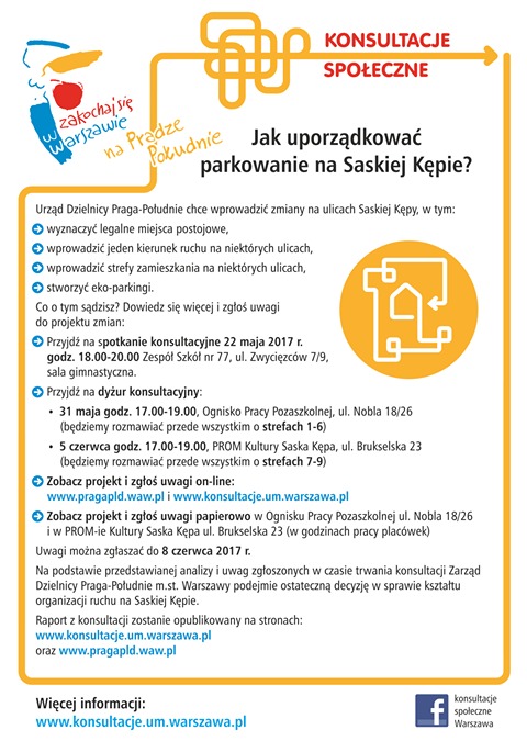 2017-06-05: ostatni dyżur konsultacyjny dot. komunikacji i parkowania na Saskiej Kępie.