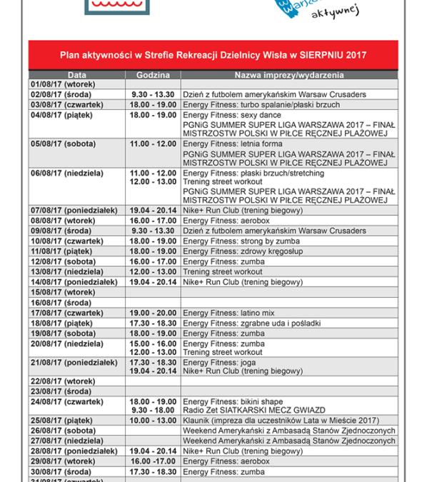 2017-08-01 do 31: wydarzenia w strefie rekreacji na Poniatówce