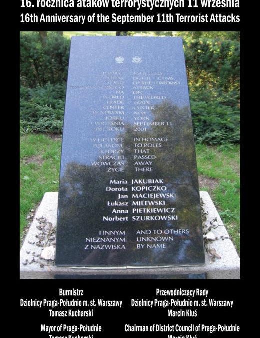 2017-09-11: uroczystość złożenia wieńców pod pomnikiem Pamięci Polaków Ofiar Ataku na World Trade Center