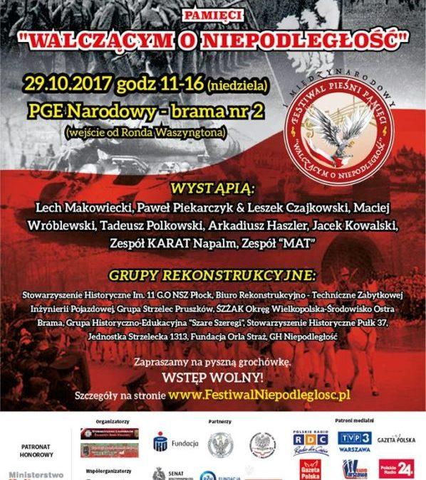 """2017-10-29: Festyn Historyczno-Muzyczny pamięci """"Walczącym o Niepodległość"""""""