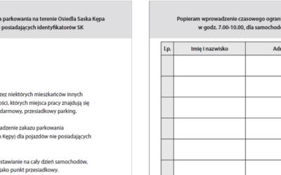 2018-01-22: zbieranie podpisów – petycja ws parkowania na Saskiej Kępie